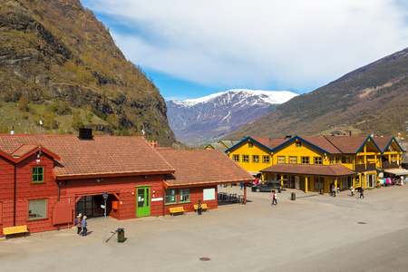 The downtown area in Flam in a sunny day, Norway