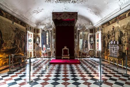 COPENHAGEN, DENMARK - MAY 24: Interior of Rosenborg Castle - build by King Christian IV in Copenhagen, Denmark in a sunny day on May 24, 2017