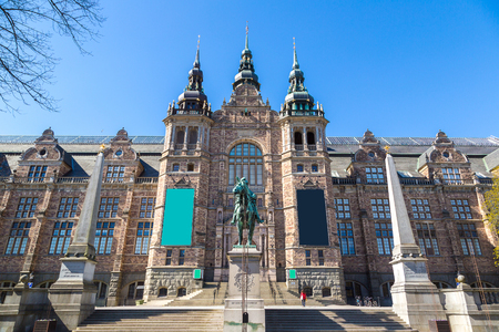 Nordic museum building in Stockholm in a sunny day, Sweden Editorial