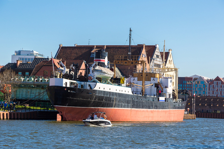 SS SOLDEK ship museum on Motlawa river in Gdansk is the first ship built after World War II in Poland in a summer day