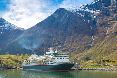 hardanger: Cruise ship in Norway in a sunny day Stock Photo