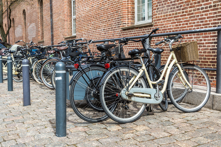 Bicycle parking in Copenhagen, Denmark in a sunny day