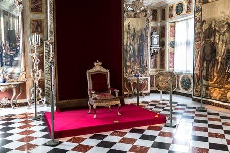 iv: COPENHAGEN, DENMARK - MAY 24: Interior of Rosenborg Castle - build by King Christian IV in Copenhagen, Denmark in a sunny day on May 24, 2017