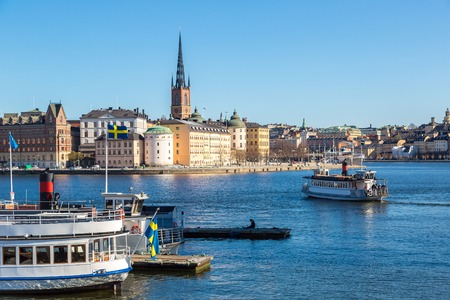 Gamla Stan, the old part of Stockholm in a sunny day, Sweden Editorial