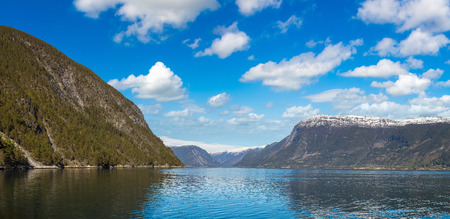 Panorama of Sognefjord in Norway in a sunny day