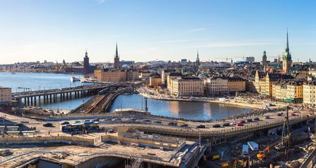 Panorama of Gamla Stan, the old part of Stockholm in a sunny day, Sweden