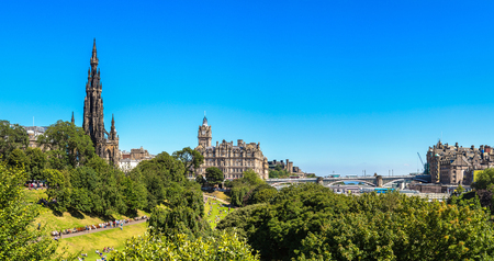 The Walter Scott Monument in Edinburgh in a beautiful summer day, Scotland, United Kingdom Editorial