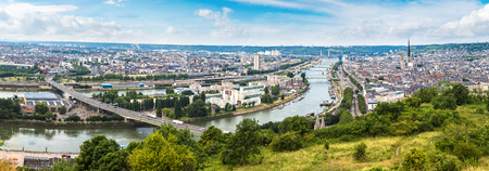 Panoramic aerial view of Rouen in a beautiful summer day, France Editorial
