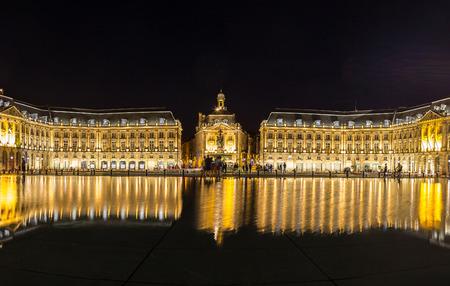 bordeaux region: Panorama of Place de la Bourse in Bordeaux in a beautiful summer night, France