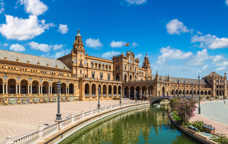 seville: Panorama of Spanish Square (Plaza de Espana) in Sevilla in a beautiful summer day, Spain