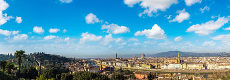 Panoramic view of cathedral Santa Maria del Fiore and The Ponte Vecchio bridge in Florence, Italy