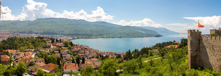 Old fortress ruins of tzar Samuel in Ohrid in a beautiful summer day, Republic of Macedonia Stock Photo
