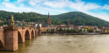 Panorama of Old bridge in Heidelberg in a beautiful summer day, Germany