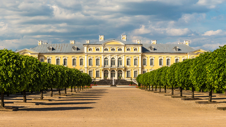 Panorama of Garden in Rundale Palace in a beautiful summer day, Latvia Stock Photo