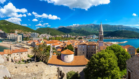 mediterranean culture: Panorama of Old town in Budva in a beautiful summer day, Montenegro