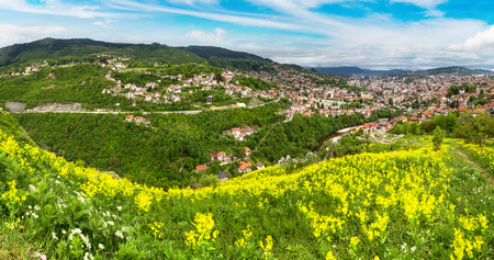 bosna and herzegovina: Panoramic aerial view of Sarajevo in a beautiful summer day, Bosnia and Herzegovina Stock Photo