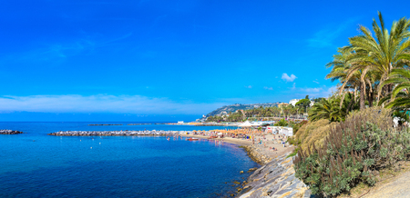Panorama of Mediterranean coast in San Remo in a beautiful summer day, Italy