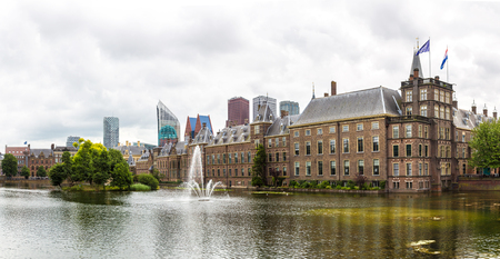 Panorama of Binnenhof palace, dutch parliament in Hague in a beautiful summer day, The Netherlands