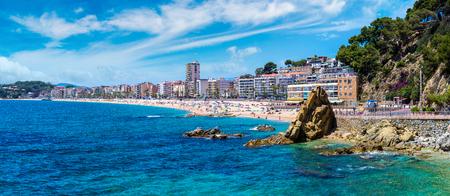 landscape: Panorama of Rocks on the coast of Lloret de Mar in a beautiful summer day, Costa Brava,   Catalonia, Spain