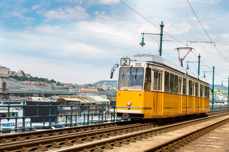 Retro tram in Budapest in Hungary in a beautiful summer day