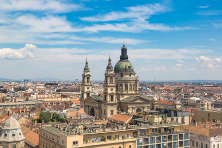 stephen: Panoramic view of Budapest and St. Stephen Basilica in Hungary in a beautiful summer day Stock Photo