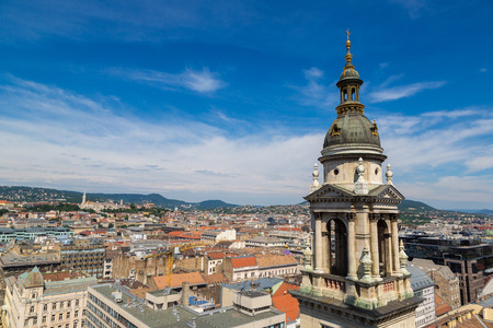 Panoramic view of Budapest and St. Stephen Basilica in Hungary in a beautiful summer day Reklamní fotografie