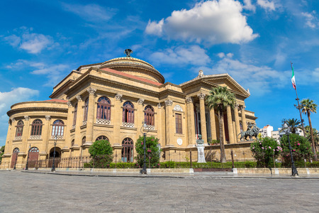 Massimo theatre in Palermo, Italy in a beautiful summer day Editorial