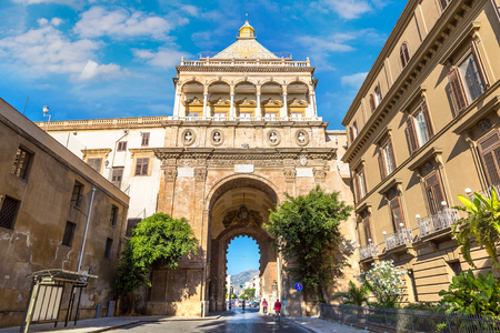 The gate of Porto Nuovo in Palermo, Italy in a beautiful summer day