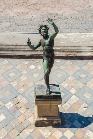 The House of the faun in Pompeii city destroyed in 79BC by the eruption of volcano Vesuvius, Italy in a beautiful summer day