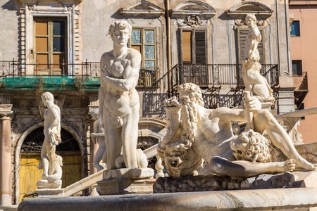 Sculpture of the fountain on baroque Piazza Pretoria in Palermo, Italy in a beautiful summer day Reklamní fotografie