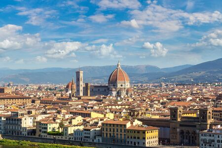 Panoramic view of cathedral Santa Maria del Fiore in Florence, Italy in a beautiful summer day