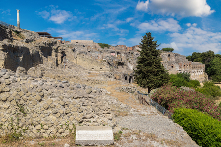 Pompeii city destroyed in 79BC by the eruption of volcano Vesuvius, Italy in a beautiful summer day Editorial