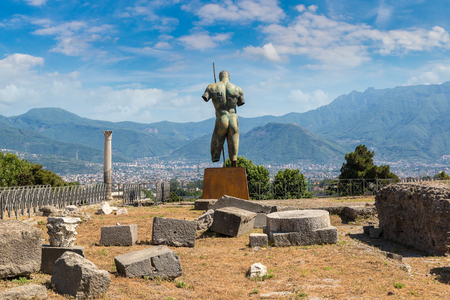 Pompeii city destroyed in 79BC by the eruption of volcano Vesuvius, Italy in a beautiful summer day Stock Photo