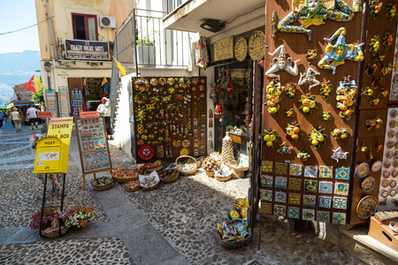 PALERMO, ITALY - JULY 28, 2017: Souvenirs of Sicily in Palermo, Italy in a beautiful summer day