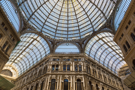 NAPOLI, ITALY - JULY 29, 2017: Gallery Vittorio Emanuele in Napoli, Italy in a beautiful summer day