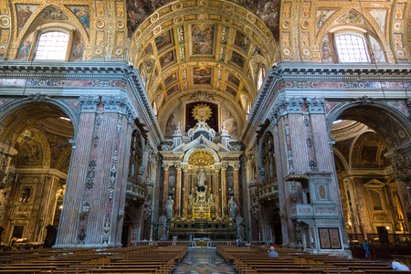 Interior of the New Jesus church (Gesu Nuovo) in Napoli, Italy in a beautiful summer day