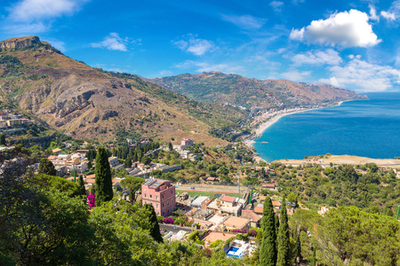 Panoramic aerial view of Taormina in Sicily, Italy in a beautiful summer day Stock Photo