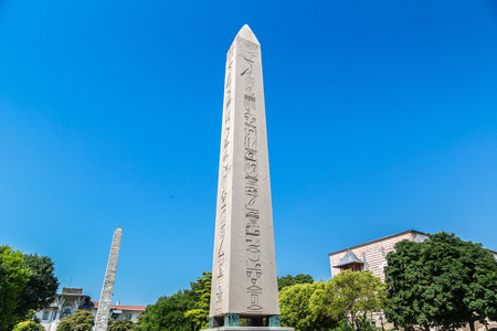 Ancient Egyptian Obelisk of Theodosius in Istanbul, Turkey in a beautiful summer day
