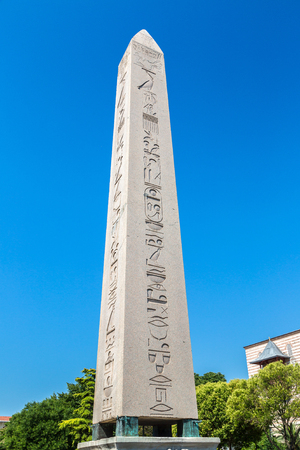 hippodrome: Ancient Egyptian Obelisk of Theodosius in Istanbul, Turkey in a beautiful summer day