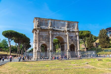 ROME, ITALY - JULY 26, 2017: Arch of Constantine in Rome, Italy in a winter day