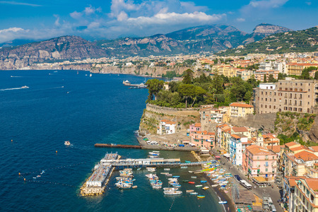 Panoramic aerial view of Sorrento, the Amalfi Coast in Italy in a beautiful summer day Stock Photo