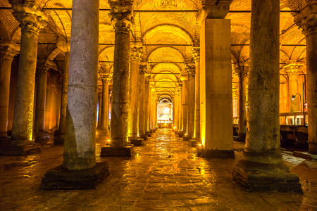 The Basilica Cistern in Istanbul, Turkey in a beautiful summer day Redakční