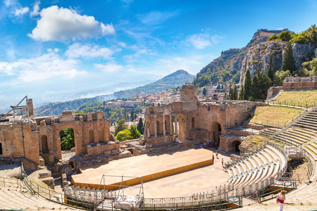 Ruins of the ancient Greek theater in Taormina, Sicily, Italy in a beautiful summer day Reklamní fotografie