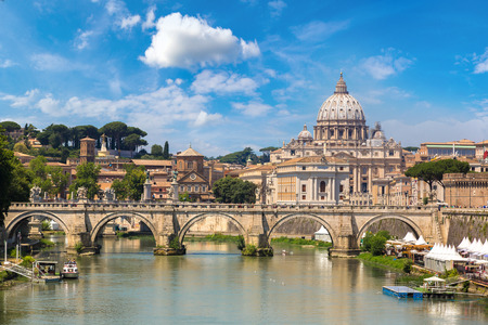 San Pietro basilica  and Sant angelo bridge in a summer day in Rome, Italy