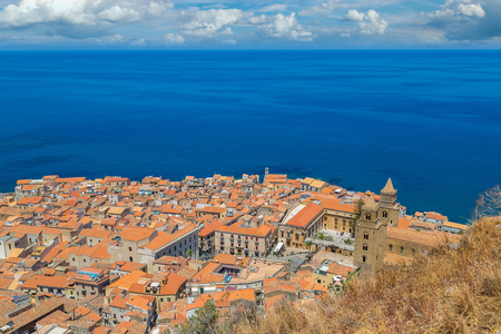 Aerial view of Cefalu in Sicily, Italy in a beautiful summer day
