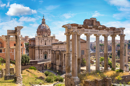 Ancient ruins of Forum  in a summer day in Rome, Italy