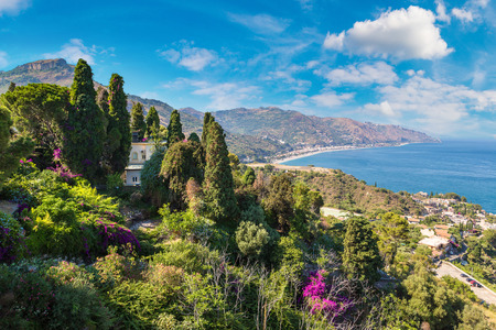 Panoramic aerial view of Taormina in Sicily, Italy in a beautiful summer day Reklamní fotografie