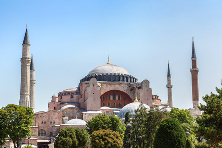 Hagia Sophia in Istanbul, Turkey in a beautiful summer day Stock Photo