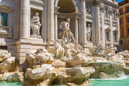 Fountain di Trevi in Rome, Italy in a summer day