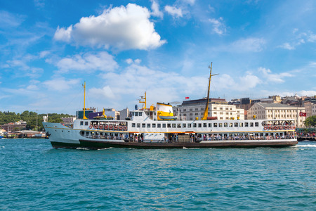 Passenger ship in the Gulf of the Golden Horn in Istanbul, Turkey in a beautiful summer day Editorial